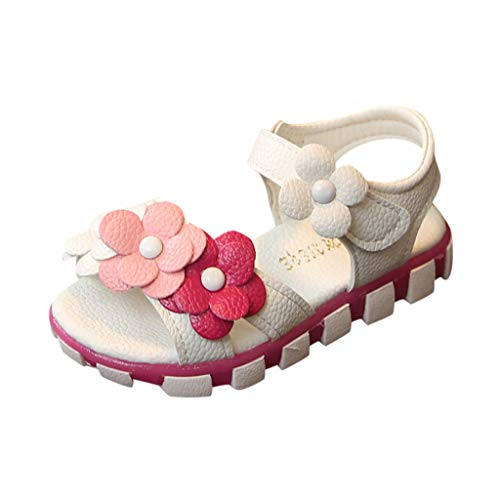 Girl's Flower Open Toe Strap Sandals Soft Leather Princess Shoes Summer Water Sandals (Toddler/Little Kid) White
