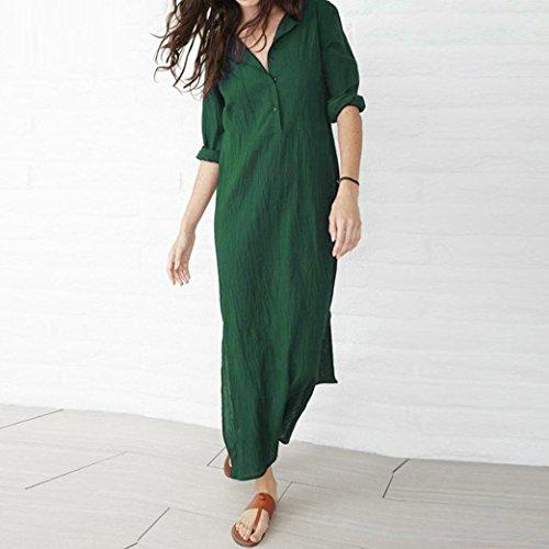 c4d7003995df0b ... O-ausschnitt Herbst Maxikleid Leinen Langarm Casual Damen Grün Baumwolle  Kleider Basic Strandkleid Baggy Mcys ...