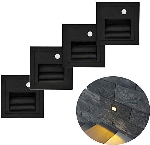 Arotelicht 4pcs, 3W LED Lámparas Led empotrables de Pared Iluminacion Escalera Empotrables con Detector de Movimiento IP65 Impermeable Blanca Cálida, negro: Amazon.es: Iluminación