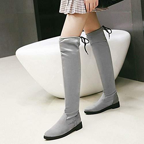 Hiver Longue Bottes Gris Femmes Mode Taoffen Plates Automne CP717x