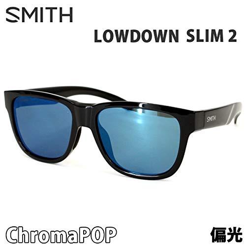 スミス スミス サングラス 偏光レンズ LOWDOWN SLIM 2 BLACK - CHROMAPOP POLARIZED BLUE MIRROR SMITH サングラス 日本正規品【C1】   B07Q4W3MM5