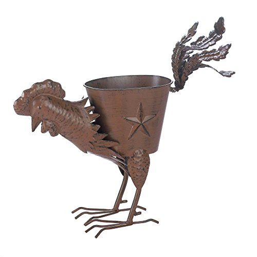 (Metal Flower Planter, Decorative Rustic Strutting Rooster Wrought Iron Planters)