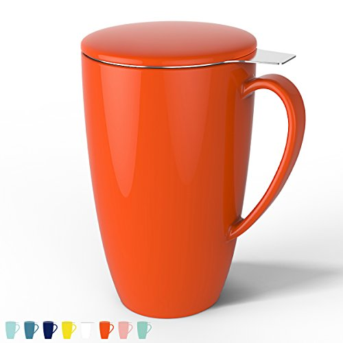 (Sweese 2105 Porcelain Tea Mug with Infuser and Lid, 15 OZ, Orange)