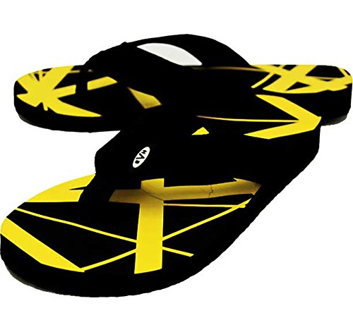Edward Eddie Van Halen YELLOW Stripes Flip Flops Sandals Shoes (8/9) from Cyberteez