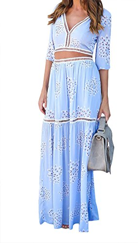 Luluka Women's Casual Crop Top Maxi Skirt 2 Piece Loose Long Dress US 10 Blue
