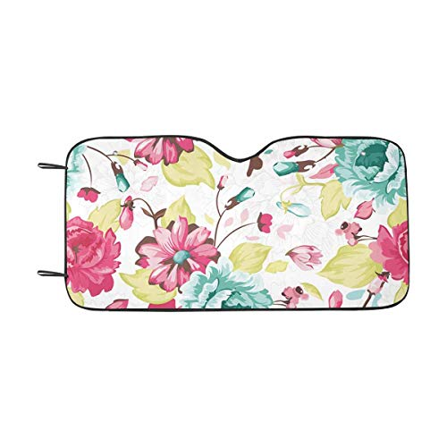 - InterestPrint Abstract Elegance Pattern with Floral Car Sun Shades UV Protector, Auto Windshield Shades to Keep Cool