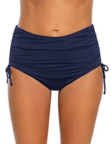 luvamia Women's Solid Ruched High Waisted Bikini Tankini Swimsuit Bottoms Side Tie Swim Brief Navy Blue Size XX-Large (Fits US 20-22)