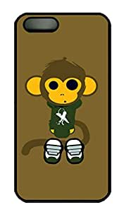 iPhone 5S Case, iPhone 5 Cover, iPhone 5S Cute Monkey Hard Black Cases