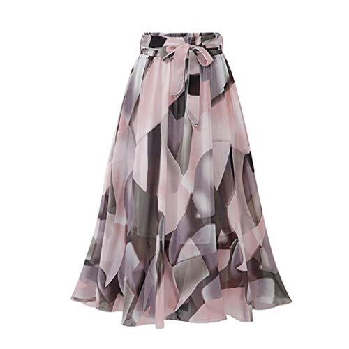 (Womens Elegant Skirt Plain Knee Length Ladies Soft Stretch Flared Printed Floral Skater Midi Skirts Pink)