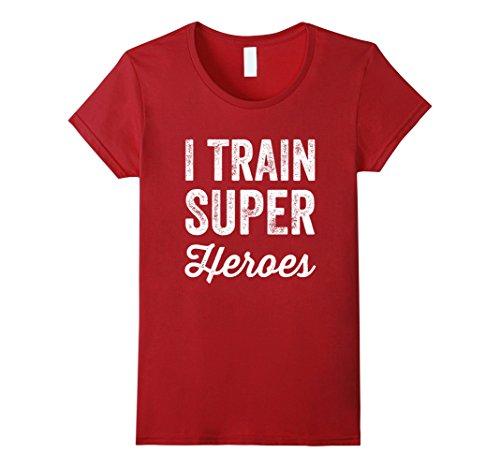 Superhero Shirts Womens (Womens I Train Superheroes T-Shirt Medium Cranberry)