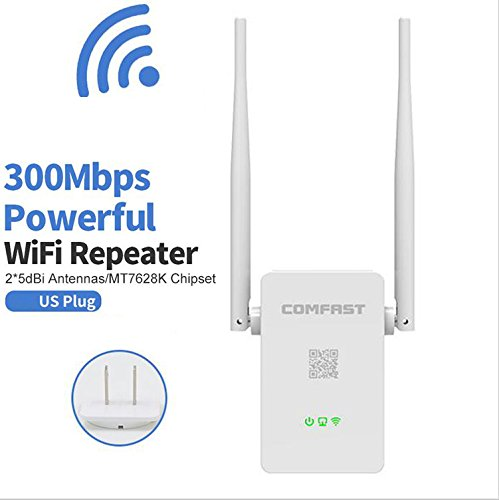 HONGYU 300Mbps WiFi Repeater, Wireless Range Extender,WiFi Booster, Signal Amplifier with Dual External Antennas and 360 Degree WiFi Full Coverage Backward Compatible with 802.11n/b/g(US Plug)