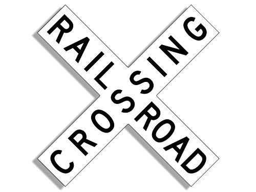 Black and White X Shaped RAILROAD CROSSING Sticker (rail railway line sign logo rr) (Railroad Logo)