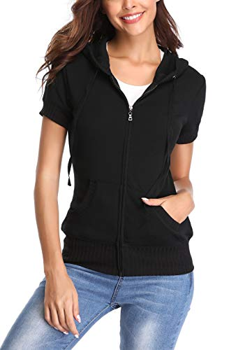 MISS MOLY Women's Round Neck Hoodie Zip Up Short Sleeve Jacket w 2 Patch Pocket Black