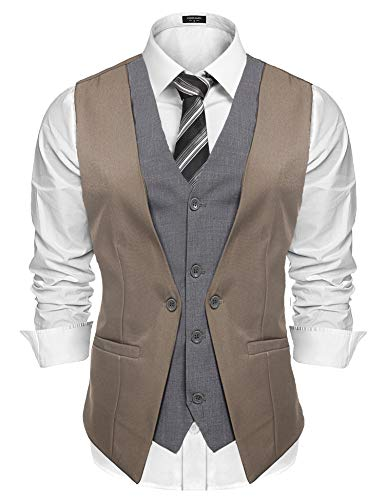 Coofandy Men's Formal Layered Slim Fit Suit Vest Premium Business Waistcoat Khaki