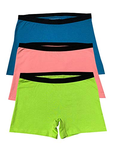 EVARI Women's Boyshort Panties Comfortable Cotton Underwear Pack of 3 (Peach, Green,Blue, - Boys Blue Panty