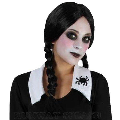 Wednesday Adams Halloween Costumes (LADIES ADAMS FAMILY HALLOWEEN WEDNESDAY CREEPY SCHOOL GIRL FANCY DRESS COSTUME[Wig] by Runway Splash)