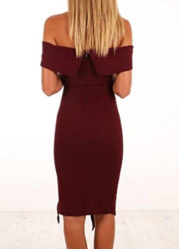 Vestito Personalizzata Solido Collare Vino Del Coolred Calzata Parola Spaccatura Una Rosso Club donne 8qCEwtS