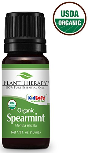 Plant Therapy USDA Certified Organic Spearmint Essential Oil. 100% Pure, Undiluted, Therapeutic Grade. 10 ml (1/3 oz). -
