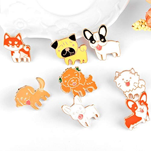 (LFDHZ 8pcs/Set Dogs Brooches Poodle Bulldog Enamel Pin Children Backpack Metal Badge Women's Shirts Lapel Pins Fashion Brooches Jewelry)