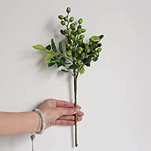 Fine Fake Berry Branches Green Artificial Berries Stems for Crafts Decoration Flowers Arrangements Bouquets Plastic Plants Floral Greenery Stems for Home Party Wedding Decoration (Green) 117