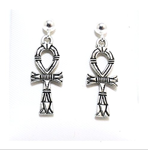 Pewter Ankh Charms on Hypoallergenic Ball Post Stud Earrings