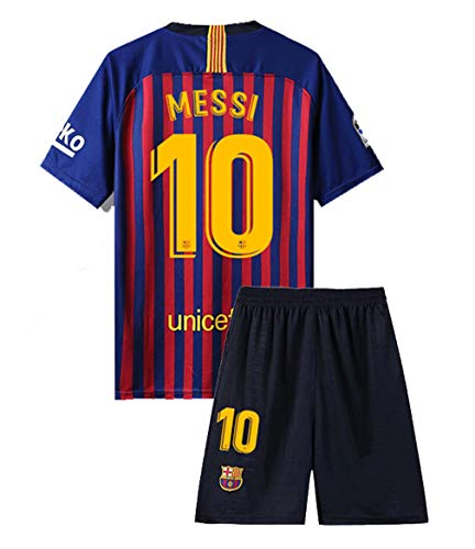 Speed Johng Messi #10 Home FC Barcelona 2018-2019 Kids/Youths Soccer Jersey & Shorts Color Red/Blue Size(10-11years) ()