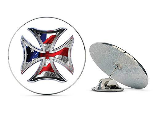 "NYC Jewelers Iron Cross American Flag Metal 0.75"" Lapel Hat Pin Tie Tack Pinback"