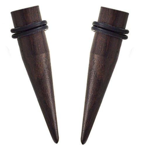 Pair of Organic Ebony Wood Tapers with O-Rings (2G (Organic Ebony O-ring)