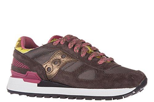 Saucony chaussures baskets sneakers femme en daim shadow marron