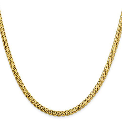 Bracelet 14k Charm Oval (Jewelry Adviser Bracelets 14k 5.45mm Semi-solid Oval Wheat Chain Length 20