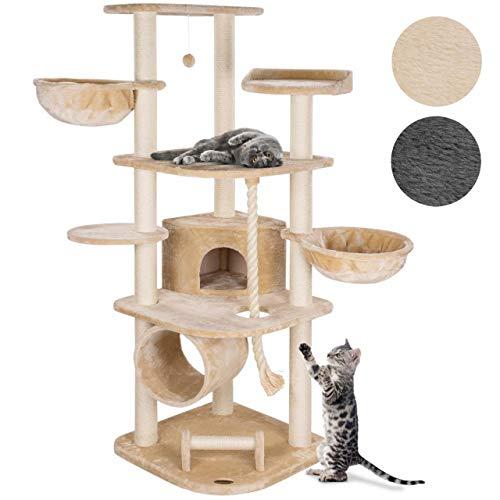 Happypet® MASSIVER Kratzbaum für Grosse Katzen 181 cm hoch CAT041 Kletterbaum Katzenbaum, 9cm Sisal-Stämme, Haus…