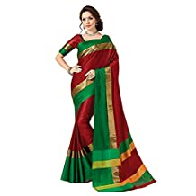 Indian Beauty with Blouse Piece Art Silk Saree (Blue N_Red_Free Size)