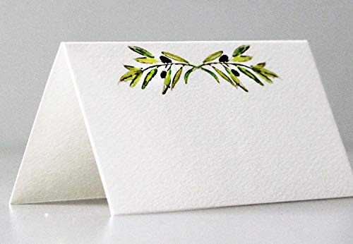 Nancy Nikko Place Cards with Green Leafy Olive Branch for Weddings, Showers, and Dinner Parties. Table Tent Style, Scored for Easy Folding. Available in Pkgs of 12/25 / 50 (50) (Green Place Card)