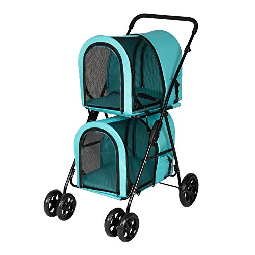 Double Layer Dog Pram Stroller Foldable 3 in 1 Pet Stroller for Dogs Cats (Pet Travel Carrier Bag or Pet Car Seat Carrier or Pet Stroller)