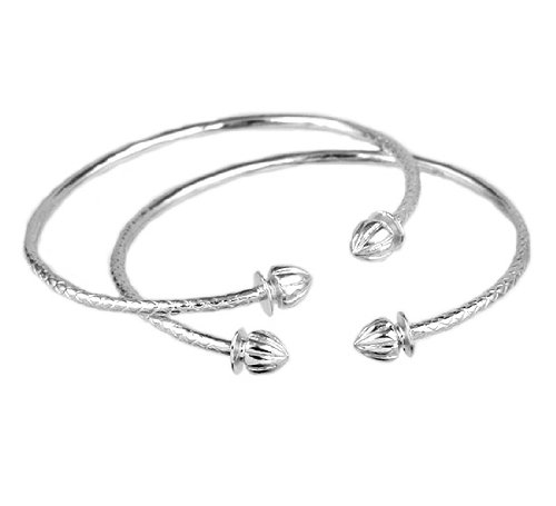 Acorn .925 Sterling Silver West Indian Bangles (Pair) (MADE IN USA)