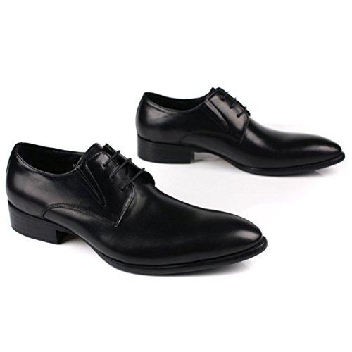 Lyzgf Mannen Jeugd Gentleman Business Casual Mode Formele Slijtage Kant Kant Lederen Schoenen Zwart