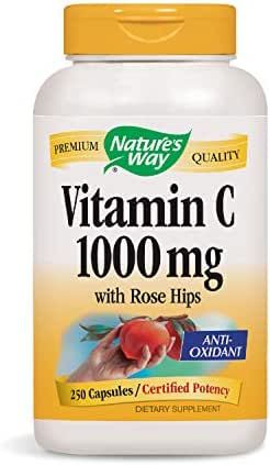 Vitamin C 1000 mg with Rose Hips; 1000 mg Vitamin C per Serving; 250 Capsules (Packaging May Vary)
