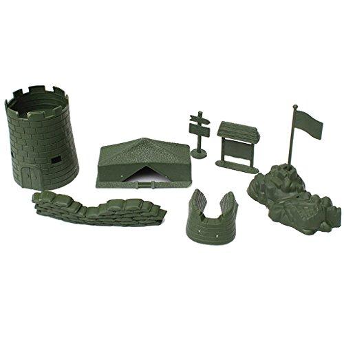 Homyl 7 Piece Set of Army Base Set Bulding Castle Accessory Blockhouse Camp Tent Sandbag Army Playset - Castle Sand Tent