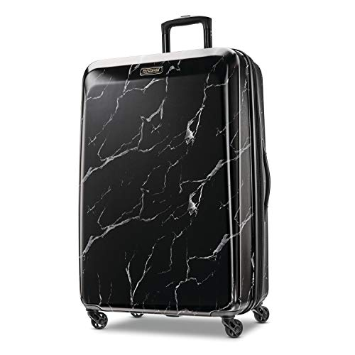 American Tourister Moonlight Hardside Expandable Luggage with Spinner Wheels, Black Marble, Checked-Large 28-Inch