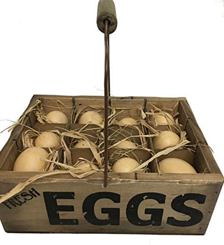 Ohio Wholesale Decorative 12 Faux Chicken Eggs in a Vintage Farm Carrier Basket with Swing Handle and Compartments ()