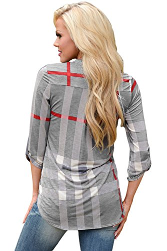Nueva mujer gris Plaid Roll Up manga camisa casual wear tamaño S UK 8–�?0EU 36–�?8