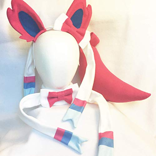 Sylveon Cosplay Ears, Tail, Bowtie Pokemon Cosplay Sylveon Costume by Panda Kitty Studios