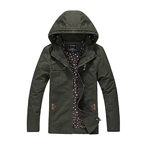 H.T.Niao Jacket9932C1 Men 's Slim Hooded Casual Jackets(Army Green,Size - Tech Carts Guard Security Systems