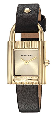 Michael Kors Women's 'Isadore' Quartz Stainless Steel and Leather Casual Watch, Color:Black (Model: - Black Michael Gold Kors And