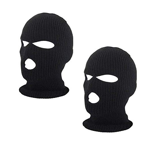 (SunTrade 2pcs 3-Hole Ski Face Mask Balaclava,Full Face Mask for Winter Outdoor Sports Black)