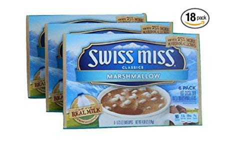Swiss Miss Classics Marshmallow 3 Boxes, 6 Packs of Hot Cocoa Mix With Marshmallows Total of 18 Packets of Mix 25% more Marshmallows