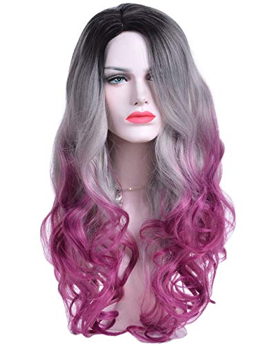 Topwigy Women Purple Ombre Wavy Wig 24 Inches Synthetic Heat Resistance Middle Part Long Colored Drag Wig for Cosplay Costume Party ()