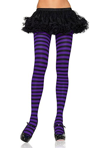 Nylon Striped Tights Adult Hosiery Black/Purple Plus Size - Queen -