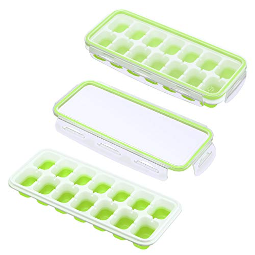 IKICH Ice Cube Trays with Locking Lids,【Unique】Easy-Release Silicone Ice Trays 2 PCS Stackble Ice Cube Moulds with Spill-Resistant Removable Lids, FDA LFGB Certified & BPA Free for Whiskey Baby Food
