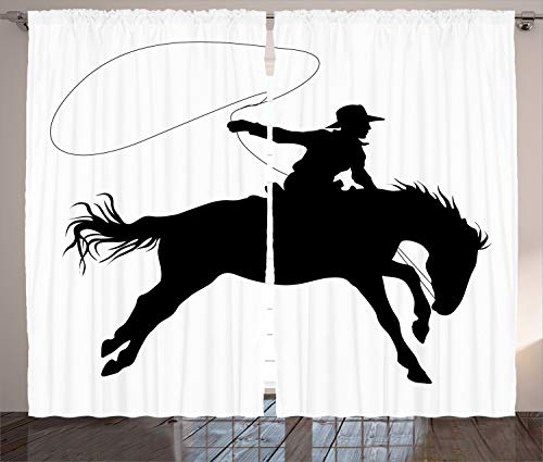 Ambesonne Cartoon Decor Collection, Silhouette of Cowboy Riding Horse Rider Rope Sport Country Western Style Art, Living Room Bedroom Curtain 2 Panels Set, 108 X 90 Inches, Black and White